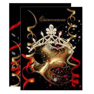 Quinceanera 15. Geburtstags-Party-rote schwarze Karte