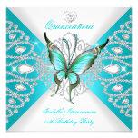 Quinceanera 15. hübscher aquamariner blauer personalisierte ankündigungskarte