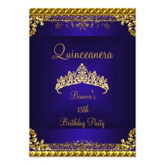 Quinceanera 15. tiefe blaue Golddiamant-Tiara Karte