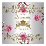 Quinceanera 15. weißer rosa Blumen-GoldTiara Personalisierte Ankündigungskarten