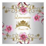 Quinceanera 15. weißer rosa Blumen-GoldTiara Quadratische 13,3 Cm Einladungskarte