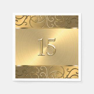 Quinceanera alle Goldmit filigran geschmückte Papierserviette