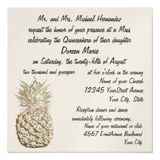Quinceanera Ananas-Gold metallisch Quadratische 13,3 Cm Einladungskarte