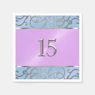 Quinceanera blauer lila silberner mit Filigran Servietten