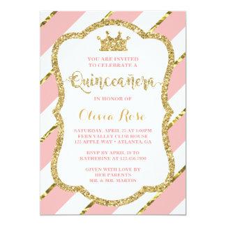 Quinceau0026#241;era Einladung, Rosa, Gold, Krone Karte
