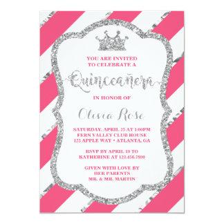 Quinceau0026#241;era Einladung, Rosa, Silber, Krone Karte