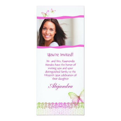 Quinceanera Einladungs-Schmetterlings-Spitze PG2 10,2 X 23,5 Cm Einladungskarte