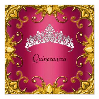 Quinceanera Geburtstags-Party-roter GoldweißTiara Quadratische 13,3 Cm Einladungskarte