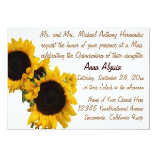 Quinceanera hübsche Sonnenblumen 12,7 X 17,8 Cm Einladungskarte