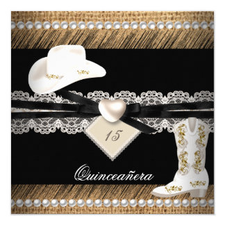 Quinceanera lädt rustikaler Leinwand-Cowgirl-Hut Quadratische 13,3 Cm Einladungskarte