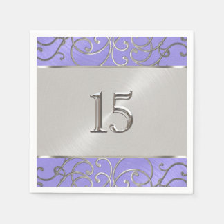 Quinceanera Lavendel-lila silberner mit Filigran Servietten