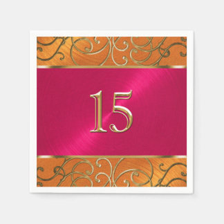 Quinceanera magentarotes rosa orange Gold mit Papierserviette