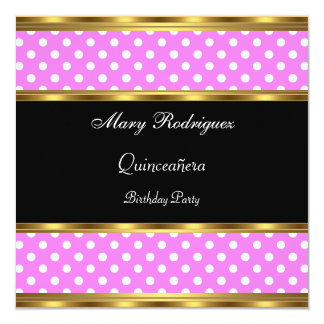 Quinceañera Party-Rosa-Polkapunkte Karte