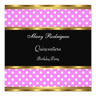 Quinceañera Party-Rosa-Polkapunkte Quadratische 13,3 Cm Einladungskarte
