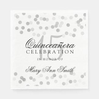 Quinceanera Party-silberne Folien-Glitter-Lichter Papierservietten