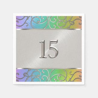 Quinceanera Regenbogen und silberner mit Filigran Papierservietten