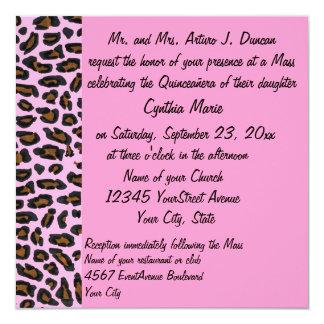Quinceanera rosa Leopard-Druck Quadratische 13,3 Cm Einladungskarte