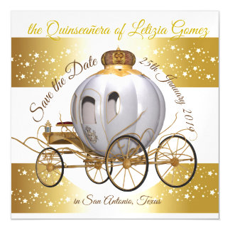 Quinceanera Save the Date Goldprinzessin Carriage Magnetische Karte