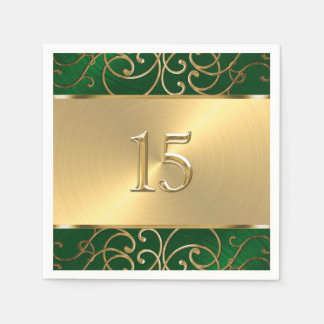 Quinceanera Smaragdgrün und Goldmit filigran Papierservietten