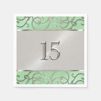 Quinceanera tadelloser grüner und silberner mit papierserviette