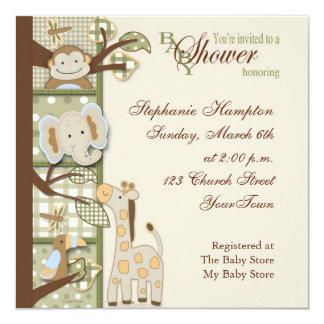 Quited Affe-Babyparty-Einladung Quadratische 13,3 Cm Einladungskarte