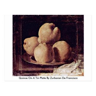 Quitte auf einem Weißblech durch Zurbaran De Postkarte