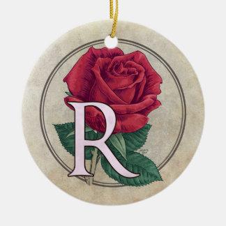 R für Rosen-Blumen-Monogramm Keramik Ornament
