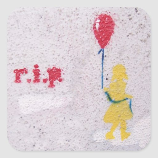 r.i.p. Schablone: Mädchen mit dem roten Ballon Quadrataufkleber