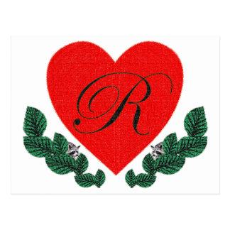R in einem Herzen Postkarte