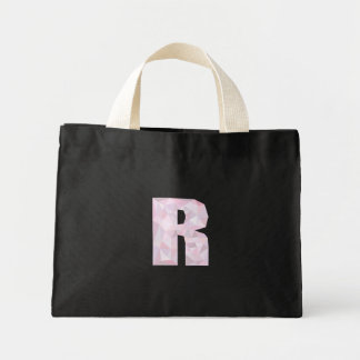 R - Niedrige Polydreiecke - neutrales rosa lila Mini Stoffbeutel