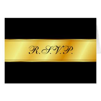 R.S.V.P. Karte - Schwarzes mit Goldband