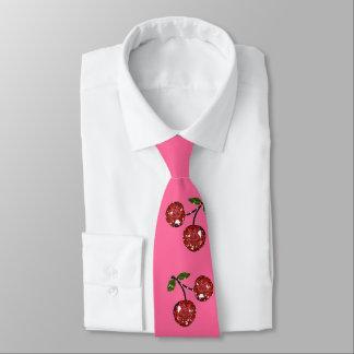 RAB Rockabilly sehr Kirschkirschen auf Rosa Krawatte