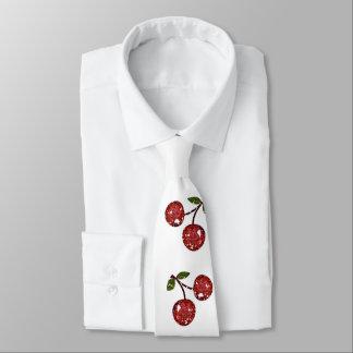 RAB Rockabilly sehr Kirschkirschen auf Weiß Krawatte