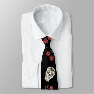 RAB Rockabilly Zuckerschädel-Kirschen auf Krawatte