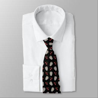 RAB Rockabilly Zuckerschädel-Rosen auf Schwarzem Krawatte