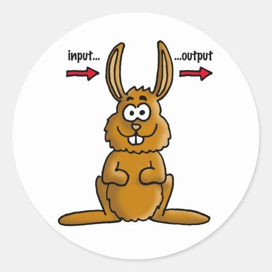 Rabbit input output runder aufkleber