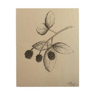Rabbitswood BlackBerry-Illustrations-Holz-Kunst Holzleinwand