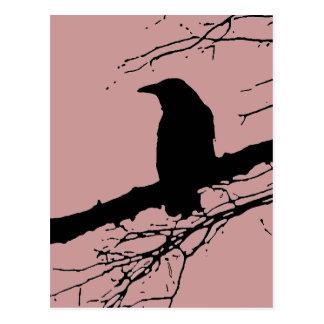 Rabe auf dem Baum Postkarte
