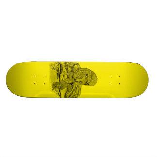 Rabe mit Wolf schwarz gelb Design Skateboardbretter