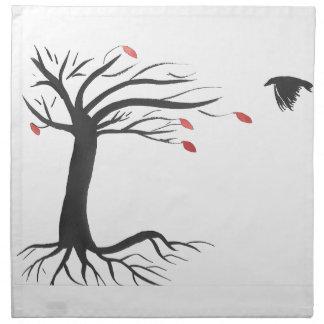 Rabe und Baum Stoffserviette