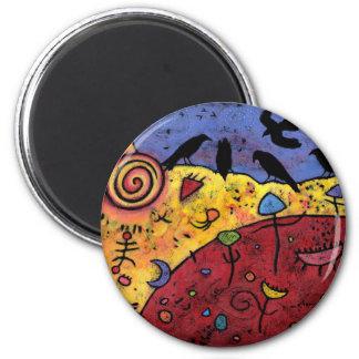 Raben, die Träume, wunderliche Vögel spinnen Runder Magnet 5,1 Cm
