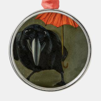 Rabenregen 2 rundes silberfarbenes ornament