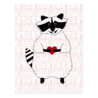 Raccoon-Liebe Postkarte