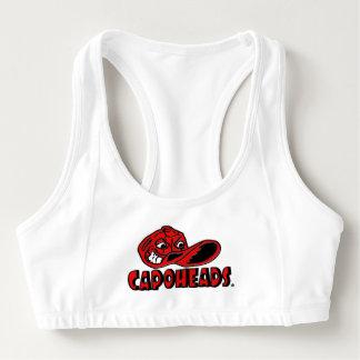 Racerback trägt BH mit rotem CapoHeads Logo zur Sport-BH
