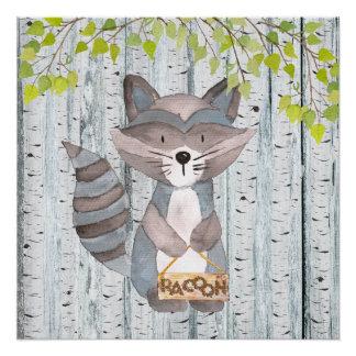 Racoon-Waldfreunde - Aquarellillustration Poster