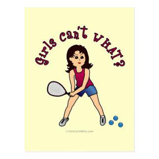 Racquetball-Mädchen (Licht) Postkarte