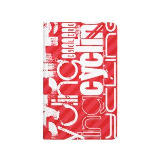 Radfahren; Scharlachrot Rot-Streifen- Taschennotizbuch