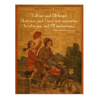 Radfahren zurück zu Schule Postkarte