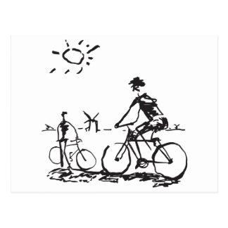 Radfahrende Fahrrad-Skizze Postkarte