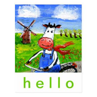 Radfahrende Kuh Postkarte